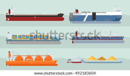 Cargo ship side view. Detailed cargo ship vector isolated. Global cargo shipping concept. Ferry ship