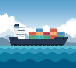 Cargo Shipping With Containers Icon. Vector Illustration