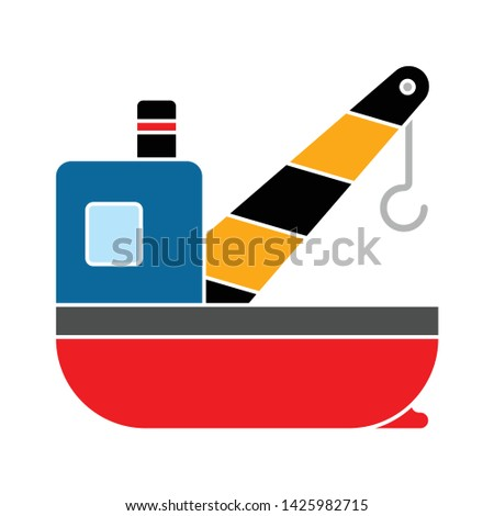 cargo ships crane icon. flat illustration of cargo ships crane vector icon for web
