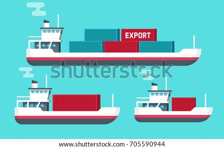Cargo ships isolated vector illustration, flat cartoon big and small shipping freighter boats carrying cargo containers flat cartoon style, commercial freight vessel