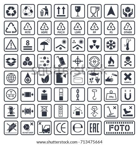 cargo symbols set, packaging icons, package symbols set on cardboard