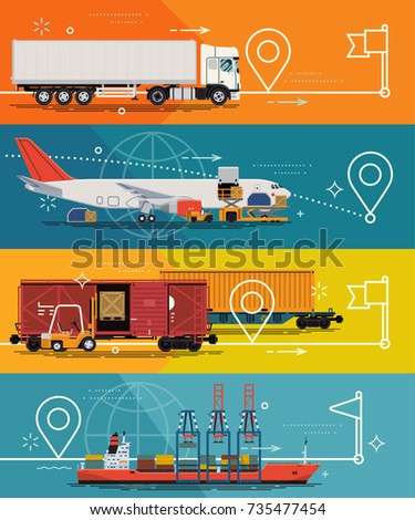 Cargo tracking service concept illustrations. Cool vector flat design transportation and freight cargo shipping options and alternatives with tracking