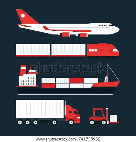 Cargo tracking service illustrations. Cool vector flat design transportation and freight cargo shipping options and alternatives