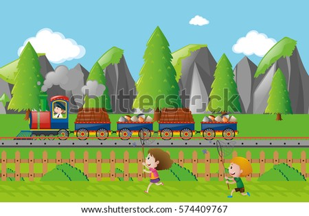 cargo train on the track