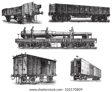 Cargo train wagon collection / vintage illustration from Brockhaus Konversations-Lexikon 1908