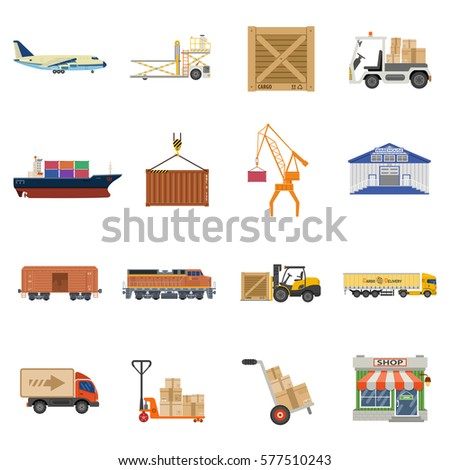 Cargo Transport, Packaging, shipping, delivery and logistics flat Icons Set with Truck, air cargo, Train, Shipping. isolated vector illustration