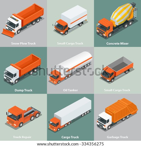 Cargo Truck set icons.  Flat 3d isometric high quality city service transport.