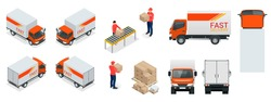 Cargo Truck transportation, delivery man, boxes. Fast delivery or logistic transport. Easy colour change. Template vector isolated on white View front, rear, side, top and isometric