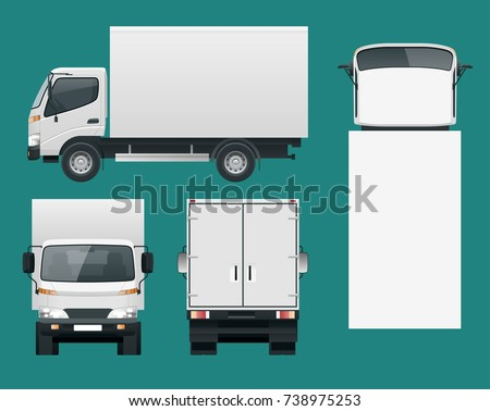 Cargo Truck transportation. Fast delivery or logistic transport. Easy color change. Template vector isolated on white View front, rear, side, top