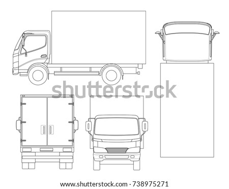 Cargo Truck transportation on outline. Fast delivery or logistic transport. Easy color change. Template vector isolated on white View front, rear, side, top