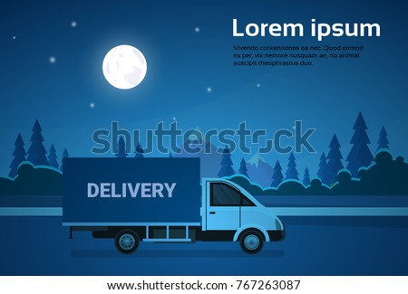 cargo truck van on road at