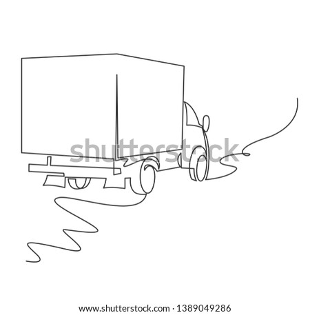 Cargo van continuous one line vector drawing. Truck, lorry minimalistic sketch. Logistics, conveyance service automobile, vehicle black ink contour illustration. Goods transportation automobile