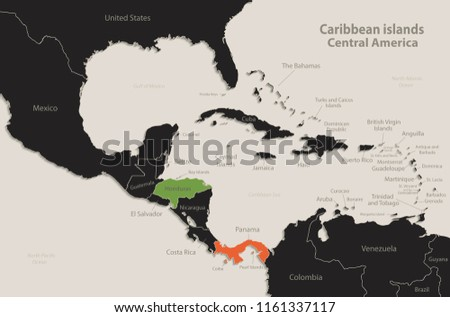 Central America Map With Colored Countries - Download Free Vector ...