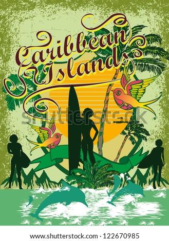 caribbean islands vector art