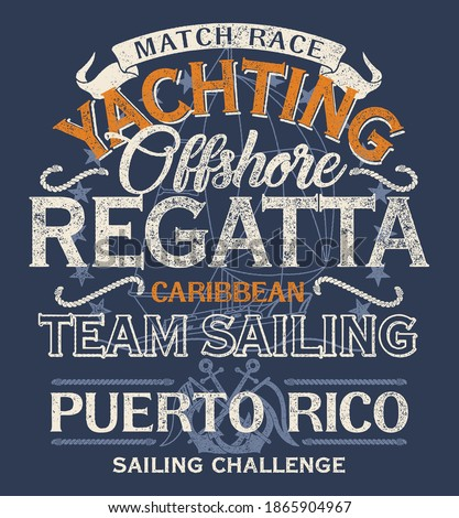 Caribbean offshore yacht racing sailing regatta grunge vector print for kids t shirt with sailboat background  Foto stock ©