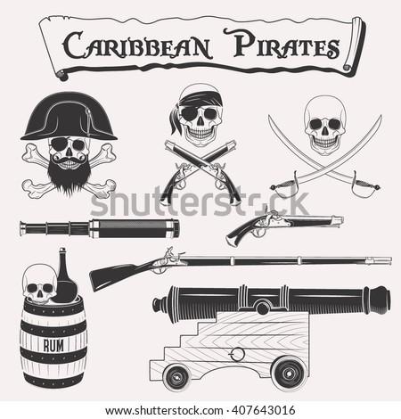 caribbean pirates drawings set