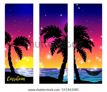 caribbean sea view triptych