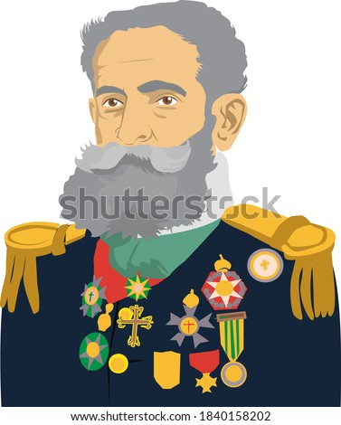 Caricature illustration of Marshal Deodoro da Fonseca First Brazilian President