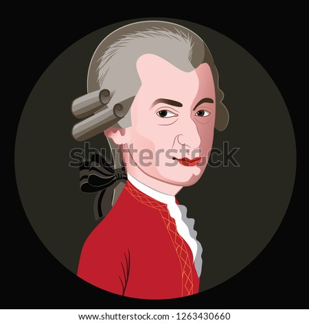 Caricature of composer Wolfgang Amadeus Mozart. Eps10 vector illustration.
