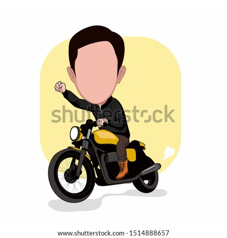 caricature templates with cartoon faces. illustration of a man riding a custom motorcycle. vector cartoon with a plain white background. Stock photo ©