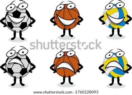Caricatured balls. Smiling and confused balls. Football ball, basketball ball, volleyball ball. Isolated balls with white background. Character. Icon set.