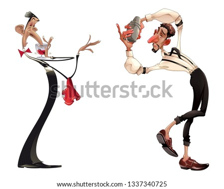 Caricatures of bartender and waiter with red wine. Vector cartoon isolated characters.