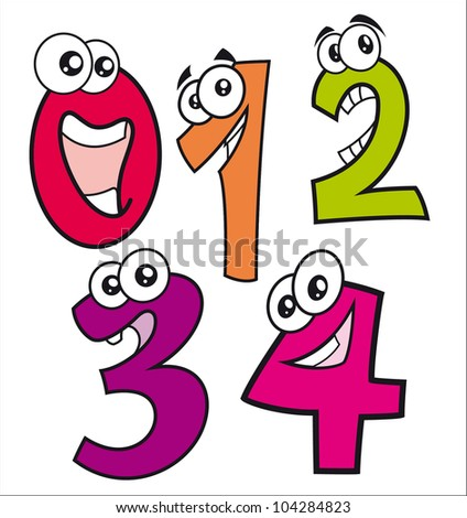 Caricatures of happy numbers from number zero to number four