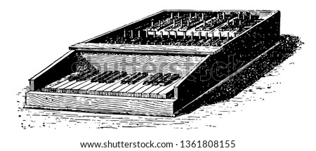 Carillon with Clavier which would be impossible to the simple carillion, vintage line drawing or engraving illustration.