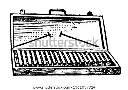 Carillon without Clavier can be struck by a small hammer, vintage line drawing or engraving illustration.