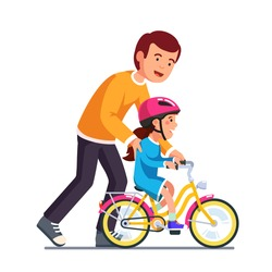Caring dad teaching daughter to ride bike for the first time. Father man helping girl kid riding bicycle. Parenting, fatherhood concept. Flat style vector illustration isolated on white background.