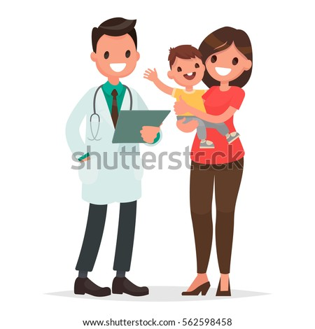 Caring for the health of the child. The pediatrician and the mother with a baby on a white background. Vector illustration in a flat style
