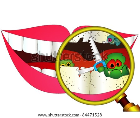 Carious teeth under magnifier