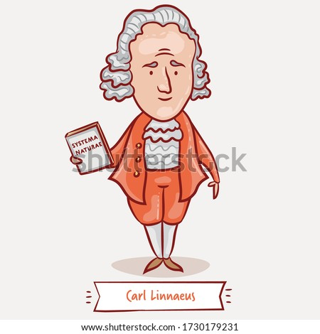 Carl Linnaeus with his Systema Naturae book. Vector cartoon illustration. Swedish botanist, zoologist, and physician. Famous people who changed the world. Zdjęcia stock ©