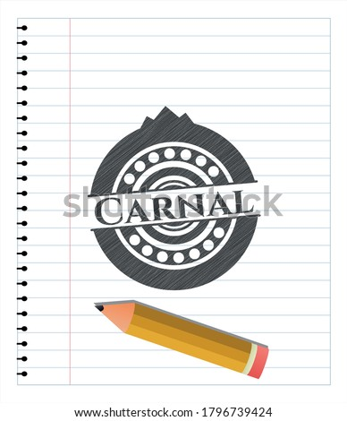 Carnal emblem drawn in pencil. Vector Illustration. Detailed.  Сток-фото ©