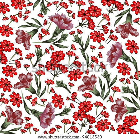 Carnation classic pattern. Beautiful pink and red flowers. Vintage background with blooming flowers. Drawing, engraving textile. Freehand. Wallpaper baroque. Vector Victorian style Illustration.