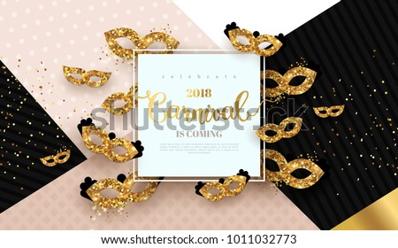 Carnaval funfair card with square frame and golden masks on modern geometric background. Vector illustration. Place for your text.
