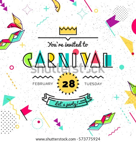 Carnival abstract background in 80s memphis style. Hipster poster, juicy, bright color background. Vector illustration
