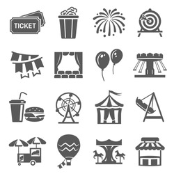 Carnival and festival icon set, event or celebration decoration. Amusement emblems. Vector carnivals illustration on white background