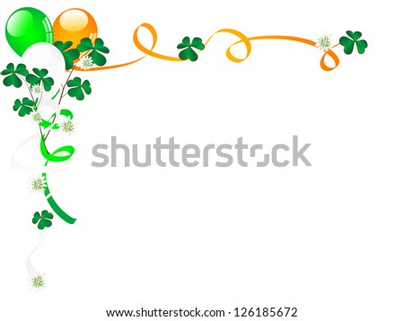 Carnival background with balloons, clover and ribbons