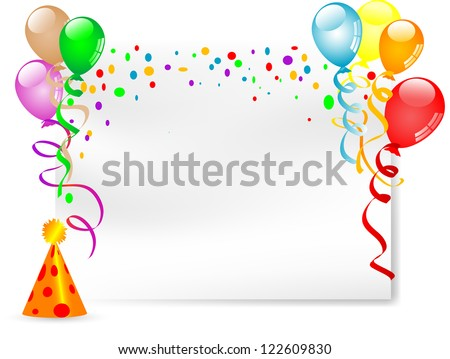 Carnival background with balloons, ribbons and clown hat