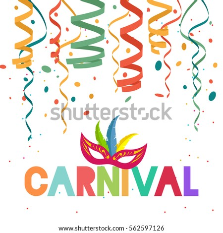Carnival background with confetti, serpentine and Mask
