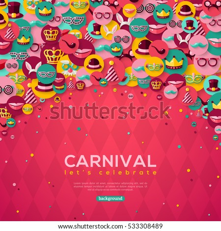Carnival Banner With Flat Icons in Circles on Pink Textured Backdrop. Vector illustration. Masquerade Concept.