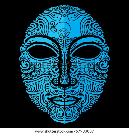 stock vector : carnival blue tattoo mask vector