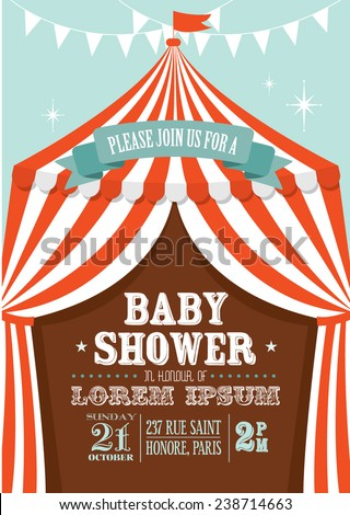 carnival/circus tent baby shower invitation card template vector/illustration