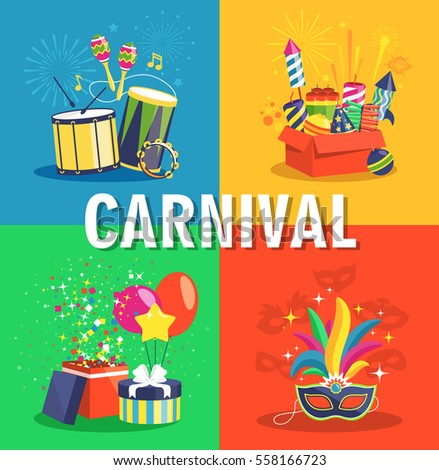 Carnival Concept with Musical Instruments Pyrotechnics Gifts and Masks
