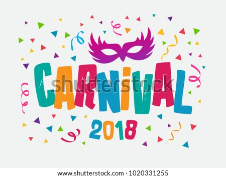 Carnival Event in Brazil. Carnival Title With Colorful Party Elements. Samba Dance Vector