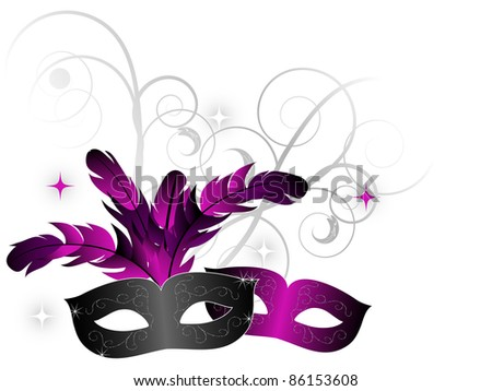 Carnival face-masks on white background - stock vector
