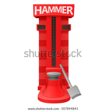 carnival fair red electronic high striker strength tester strongman game attraction machine with hammer isolated on white background. vector illustration