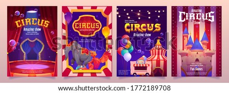 Carnival funfair flyers. Circus performance posters with elephant on ball, tent and food cart. Vector cartoon set of festival flyers with illustration of circus stage, balloons and magic castle