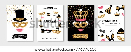 Carnival gold and black posters set, flyer or invitation design. Vector illustration. Funfair funny tickets with pattern and emblem. Place for your text message.